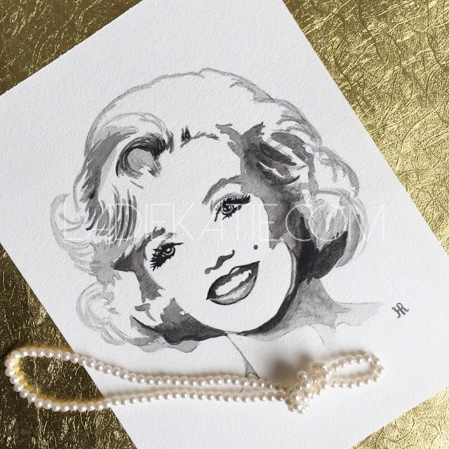 Marilyn Monroe Black and White Watercolor