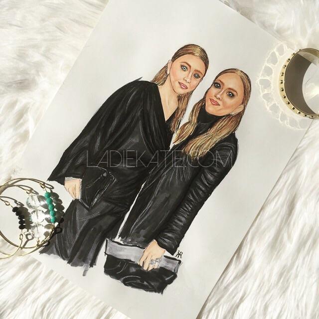 Mary-Kate and Ashley Olson Pastel Illustration